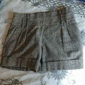Cremieux tweed high-waisted wool blend shorts